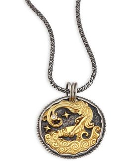 Zodiac 18k Gold, Sterling Silver & Diamond Aquarius Pendant
