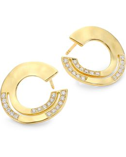 Sensotm Staggered Diamond Pave & 18k Yellow Gold Disc Earrings