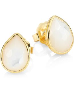 Rock Candy? Mother-of-pearl & 18k Yellow Gold Pear Stud Earrings