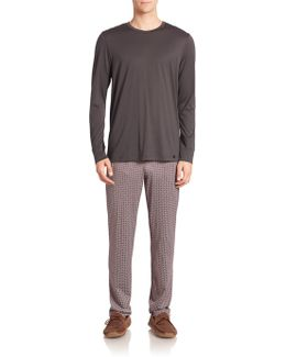 Filippo Classic Knit Geometric-print Pajama Set