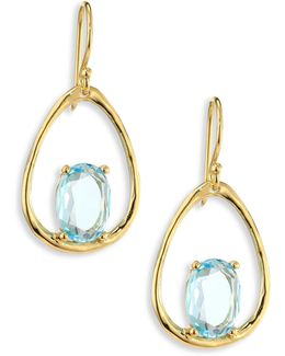 Rock Candy? Small Blue Topaz & 18k Yellow Gold Oval Earrings