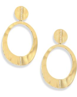 Senso Diamond & 18k Yellow Gold Open Oval Earrings
