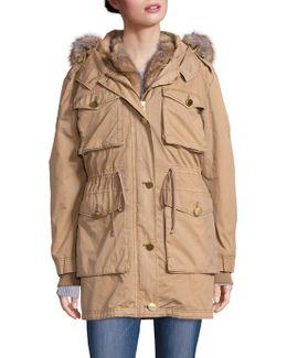 Faux Fur-trimmed Parka Coat