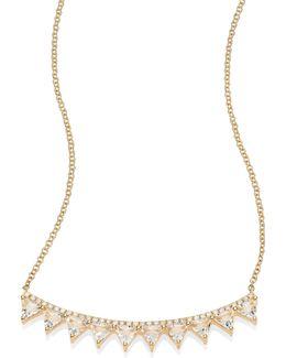 Multi Triangle Diamond, White Topaz & 14k Yellow Gold Crescent Necklace