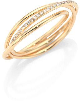 Interlocking Diamond & 14k Yellow Gold Eternity Ring