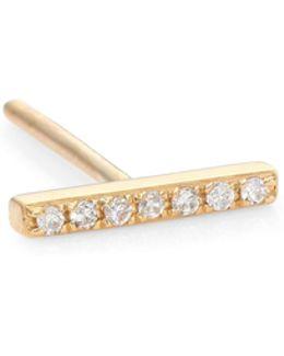 Diamond & 14k Yellow Gold Single Bar Stud Earring