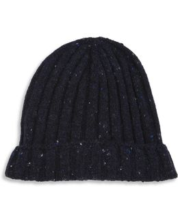 Ribbed Virgin Wool & Cashmere Blend Beanie