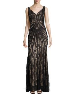 Piped Lace Gown