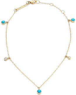 Diamond, Turquoise & 14k Yellow Gold Anklet