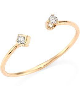 Diamond & 14k Yellow Gold Open Ring