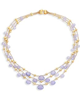 Paradise Chalcedony & 18k Yellow Gold Graduated Three-strand Necklace