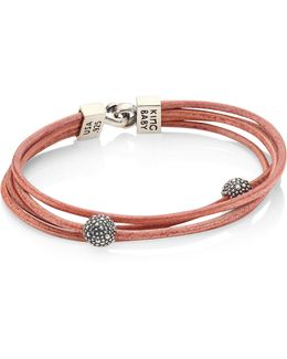 Multi-strand Leather & Sterling Silver Bracelet
