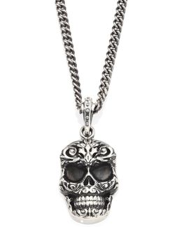 Sterling Silver Carved Baroque Skull Pendant Necklace