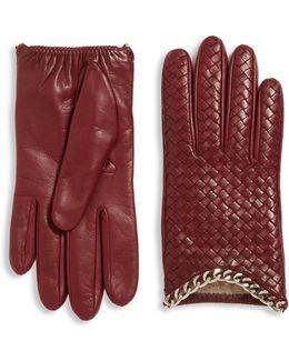 Intrecciato-weave Leather Gloves