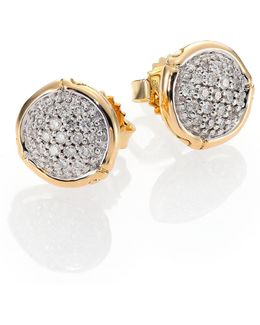 Bamboo Small Diamond & 18k Yellow Gold Round Stud Earrings