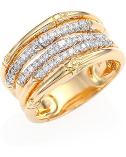 Classic Chain Diamond & 18k Yellow Gold Five-row Ring