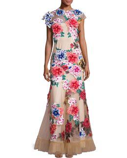 Floral Applique Mermaid Gown