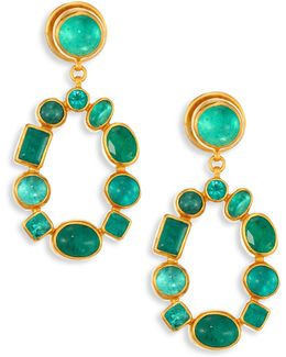 Amulet Hue Emerald & 24k Yellow Gold Drop Earrings