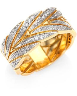 Modern Chain Diamond & 18k Yellow Gold Ring