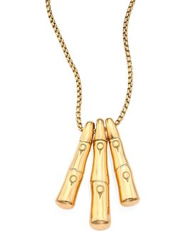 Bamboo 18k Yellow Gold Trio Stick Pendant Necklace