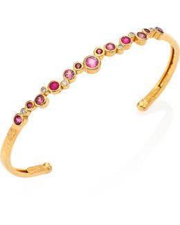 Pointelle Multi-stone 22k Yellow Gold Cuff Bracelet