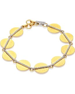 Lush Diamond, 24k Yellow Gold & 18k White Gold Bracelet