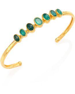 Amulet Hue Emerald & 24k Yellow Gold Bangle Bracelet