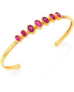 Amulet Hue Ruby & 24k Yellow Gold Bangle Bracelet