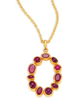 Amulet Hue Ruby & 24k Yellow Gold Pendant Necklace