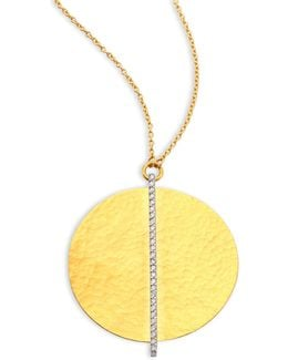 Lush Diamond Large 24k Yellow Gold Pendant Necklace