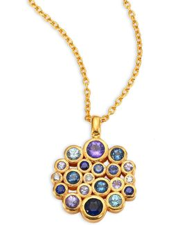 Pointelle Diamond, Multi-stone & 24k Yellow Gold Pendant Necklace