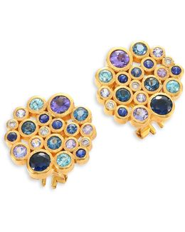 Pointelle Diamond, Multi-stone & 24k Yellow Gold Stud Earrings