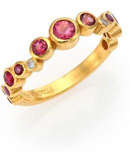 Pointelle Diamond, Multi-stone & 24k Yellow Gold Ring