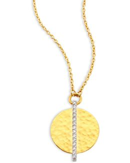 Lush Diamond Small 24k Yellow Gold Pendant Necklace