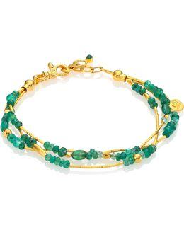 Delicate Rain Emerald & 24k Yellow Gold Triple-strand Bracelet