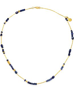 Delicate Rain Blue Sapphire & 24k Yellow Gold Beaded Necklace
