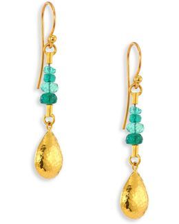Delicate Rain Emerald & 24k Yellow Gold Drop Earrings