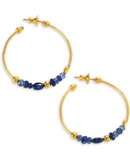 Delicate Rain Blue Sapphire & 24k Yellow Gold Hoop Earrings/1.5