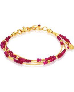 Delicate Rain Ruby & 24k Yellow Gold Triple-strand Bracelet