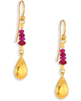 Delicate Rain Ruby & 24k Yellow Gold Drop Earrings