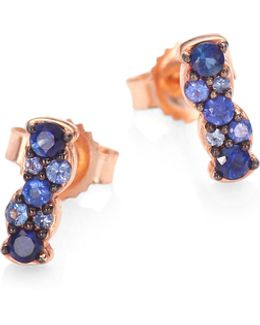 Linia Interstellar Sapphire & 14k Rose Gold Bar Stud Earrings