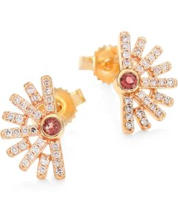 Setting Sun Diamond & Pink Tourmaline Stud Earrings