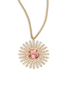 Rising Sun Diamond, Pink Tourmaline & 14k Yellow Gold Pendant Necklace