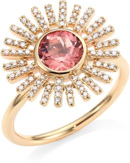 Rising Sun Diamond, Pink Tourmaline & 14k Yellow Gold Ring