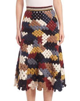 Crocheted Alpaca-blend Midi Skirt