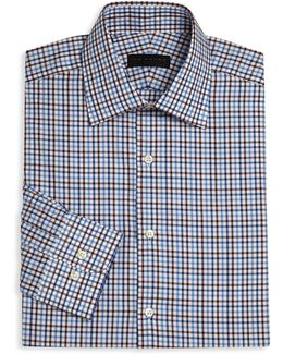 Long Sleeve Checkered Dress Shirt