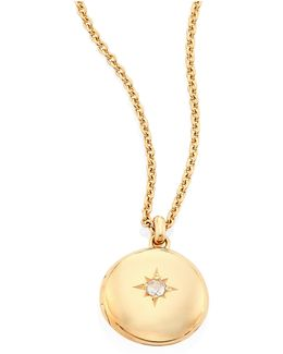 Cosmos Small Diamond & 14k Yellow Gold Locket Necklace