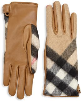 Leather & Check Cashmere Gloves