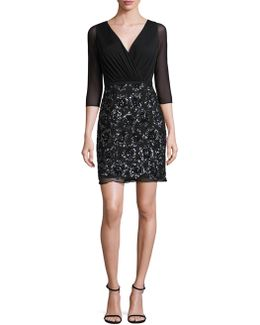 Sequined Shirred Dress