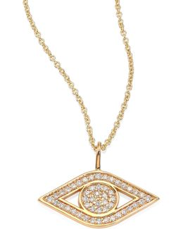 Small Pave Evil Eye Diamond & 14k Yellow Gold Pendant Necklace